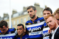 Luke Charteris of Bath Rugby looks on in a post-match huddle. Aviva Premiership match, between Bath Rugby and Worcester Warriors on September 17, 2016 at the Recreation Ground in Bath, England. Photo by: Patrick Khachfe / Onside Images
