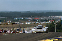 LE MANS, FRANCE - JUNE 11: The race-winning Sauber-Mercedes C9/88 88-C9-03 of Jochen Mass, Manuel Reuter and Stanley Dickens is driven during the 24 Hours of Le Mans at the Circuit de la Sarthe in Le Mans, France, on June 11, 1989.