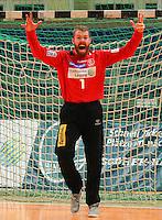 Handball, 1. Runde im DHB-Pokal 2014/ 2015: SC DHfK Leipzig vs. TV Bittenfeld 27:25 (12:11) am 20.08.2014 in der Ernst-Grube-Halle Leipzig. Im Bild: Torhüter Henrik Ruud Tovas (#1, Leipzig) bejubelt eine wichtige Parade.