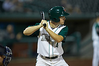 Chris Givin (4) of the Fort Wayne TinCaps at bat against the Bowling Green Hot Rods at Parkview Field on August 20, 2019 in Fort Wayne, Indiana. The Hot Rods defeated the TinCaps 6-5. (Brian Westerholt/Four Seam Images)