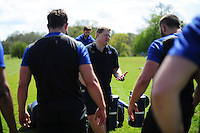 Bath Rugby first team coach Neal Hatley speaks to his players. Bath Rugby training session on May 3, 2016 at Farleigh House in Bath, England. Photo by: Patrick Khachfe / Onside Images