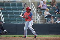 Anderson Franco (13) of the Hagerstown Suns at bat against the Kannapolis Intimidators at Kannapolis Intimidators Stadium on May 6, 2018 in Kannapolis, North Carolina. The Intimidators defeated the Suns 4-3. (Brian Westerholt/Four Seam Images)