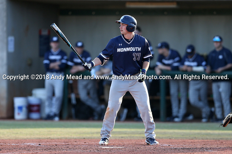 CARY, NC - FEBRUARY 23: Monmouth's Shaine Hughes. The Monmouth University Hawks played the Saint John's University Red Storm on February 23, 2018 on Field 2 at the USA Baseball National Training Complex in Cary, NC in a Division I College Baseball game. St John's won the game 3-0.