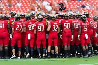 Landover, MD - September 1, 2018: The Maryland Terrapins players gather in the middle of the field before game between Maryland and No. 23 ranked Texas at FedEx Field in Landover, MD. The Terrapins upset the Longhorns in back to back season openers with a 34-29 win. (Photo by Phillip Peters/Media Images International)