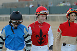 Jockey's Calvin Borel, Robby Albarado & Ramon Vazquez before the running of the Southwest Stakes (Grade III) at Oaklawn Park in Hot Springs, Arkansas on February 17, 2014. (Credit Image: © Justin Manning/Eclipse/ZUMAPRESS.com)