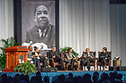 January 21, 2019; Panel discussion at the 2019 Martin Luther King Jr. Celebration Luncheon. (Photo by Matt Cashore/University of Notre Dame)