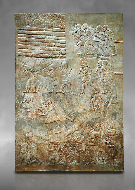 Stone relief sculptured panel of cedar of Lebanon being transported. From the northern courtyard,  Inv AO 19888 from Dur Sharrukin the palace of Assyrian king Sargon II at Khorsabad, 713-706 BC.  Louvre Museum Room 4 , Paris