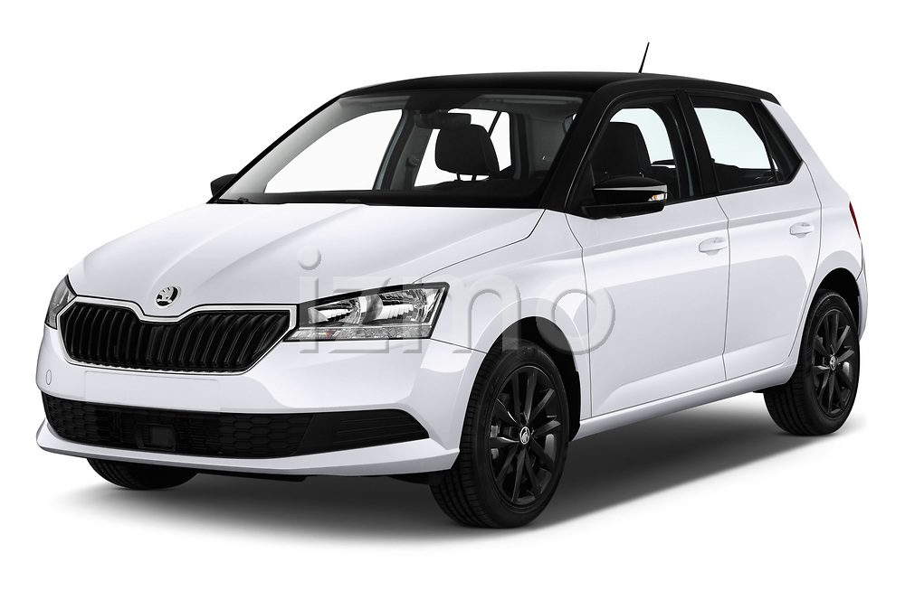 2019 Skoda Fabia Ambition 5 Door Hatchback angular front stock photos of front three quarter view