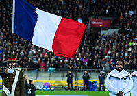 France captain Matieu Bastareaud stands for the national anthem before the Steinlager Series international rugby match between the New Zealand All Blacks and France at Westpac Stadium in Wellington, New Zealand on Saturday, 16 June 2018. Photo: Dave Lintott / lintottphoto.co.nz