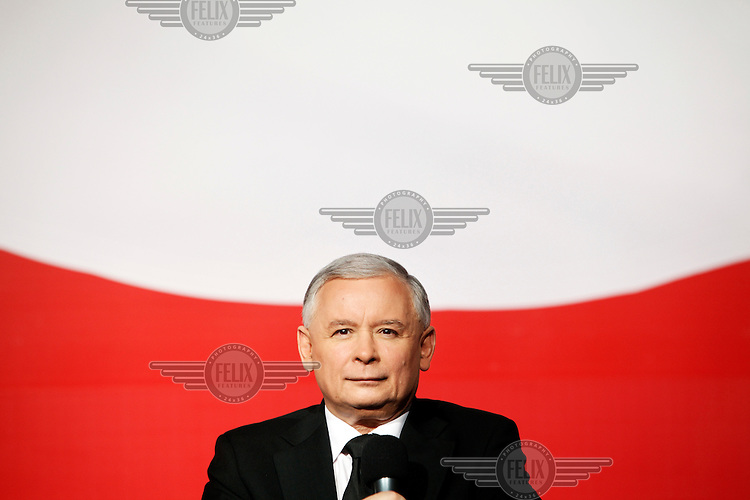 Presidential candidate Jaroslaw Kaczynski gives a speech to young people during his campaign in Warsaw.