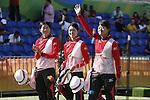 (L-R) Saori Nagamine, Kaori Kawanaka, Yuki Hayashi,  (JPN),<br /> AUGUST 7 2016 - Archery : <br /> Women's teaml final Round <br /> at Sambodromo <br /> during the Rio 2016 Olympic Games in Rio de Janeiro, Brazil. <br /> (Photo by Yusuke Nakanishi/AFLO SPORT)