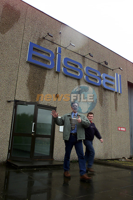 Val Haggins leaves the Bissell factory with his Tea Pot ..The Company closed its doors at Noon today after Bufet was served for the  140 employees..Pic Fran Caffrey Newsfile.©Newsfile Ltd.
