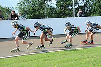 INLINE-SKATEN: HAULERWIJK: Skeelervereniging 'De Draai', 16-06-2012, Elma de Vries (#81), Bianca Roosenboom (#19), Brooke Lochland (#56), Nele Armee (#60), ©foto Martin de Jong