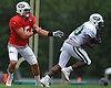 Christian Hackenberg #5, quarterback, left, hands off to running back Romar Morris #30 during New York Jets Training Camp at the Atlantic Health Jets Training Center in Florham Park, NJ on Tuesday, Aug. 8, 2017.