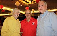NWA Democrat-Gazette/CARIN SCHOPPMEYER Loyd Phillips (from left), Tim Jordan and Tom Hopper visit at the Razorback luncheon.