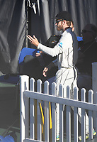 Kane Williamson declares.<br /> New Zealand Blackcaps v England. 1st day/night test match. Eden Park, Auckland, New Zealand. Day 4, Sunday 25 March 2018. &copy; Copyright Photo: Andrew Cornaga / www.Photosport.nz