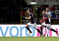 Calcio, Serie A: Bologna, stadio Renato Dall'Ara, 19 settembre 2017.<br /> Bologna's Simone Verdi (l) celebrates with his teammate Federico Di Francesco (r) after scoring during the Italian Serie A football match between Bologna and Inter Milan at Bologna's Renato Dall'Ara stadium, September 19, 2017.<br /> UPDATE IMAGES PRESS/Isabella Bonotto