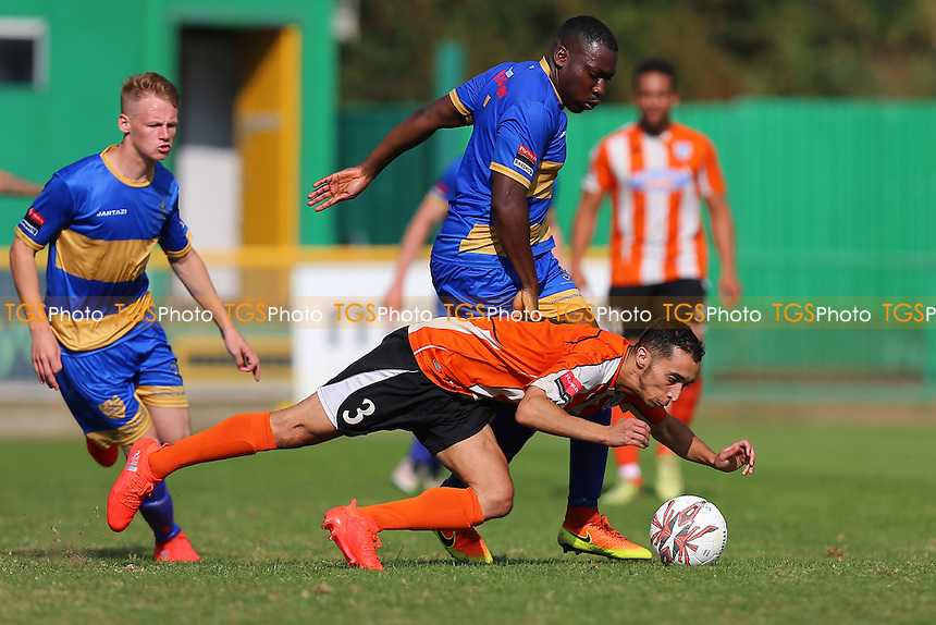 Alaa Oudji of Ware and Jonathan Adebayo of Romford during Romford vs Ware, Ryman League Divison 1 North Football at Ship Lane on 29th August 2016