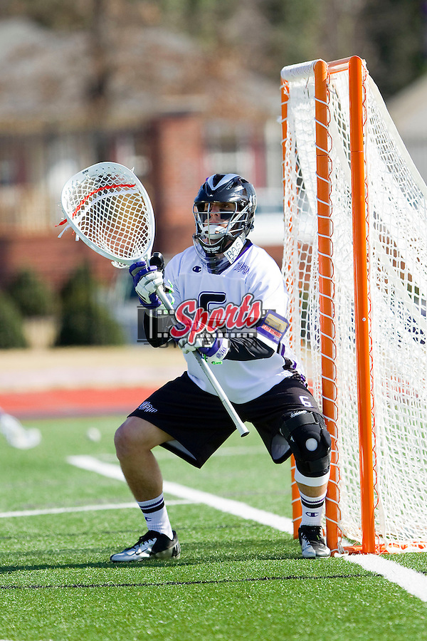 Anthony Porchetta (6) of the High Point Panthers prior to the game against the Delaware Blue Hens at Vert Track, Soccer & Lacrosse Stadium on February 2, 2013 in High Point, North Carolina.  The Blue Hens defeated the Panthers 12-10.   (Brian Westerholt/Sports On Film)