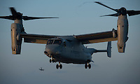 130423-N-DR144-172 Pacific Ocean (April 23, 2013)- An MV-22 Osprey assigned to Marine Medium Tiltrotor Squadron (VMM) 163 approaches to land on the flight deck of Amphibious Transport Dock Ship USS Anchorage (LPD 23). Anchorage is currently en route to its namesake city of Anchorage, Alaska for its commissioning ceremony May 4. (U.S. Navy photo by Mass Communication Specialist 1st Class James R. Evans / RELEASED)