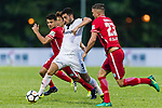 Ignacio Martinez Trueba (C)  of Dreams FC fights for the ball with Andrew James Russell (R) of Wofoo Tai Po during the Dreams FC vs Wofoo Tai Po match of the week one Premier League match at the Aberdeen Sports Ground on 26 August 2017 in Hong Kong, China. Photo by Yu Chun Christopher Wong / Power Sport Images