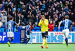 Stockholm 2014-04-06 Fotboll Allsvenskan Djurg&aring;rdens IF - Halmstads BK :  <br /> Djurg&aring;rdens Amadou Jawo har gjort 3-0 och springer framf&ouml;r jublande Djurg&aring;rden supportrar<br /> (Foto: Kenta J&ouml;nsson) Nyckelord:  Djurg&aring;rden DIF Tele2 Arena Halmstad HBK jubel gl&auml;dje lycka glad happy