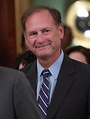 Associate Justice of the Supreme Court Samuel A. Alito, Jr. arrives for the ceremonial swearing-in ceremony for Associate Justice of the US Supreme Court Brett Kavanaugh hosted by United States President Donald J. Trump in the East Room of the White House in Washington, DC on Monday, October 8, 2018.  Kavanaugh formally took the oath on Saturday, hours after he was confirmed by the US Senate.  <br /> Credit: Ron Sachs / CNP<br /> (RESTRICTION: NO New York or New Jersey Newspapers or newspapers within a 75 mile radius of New York City)