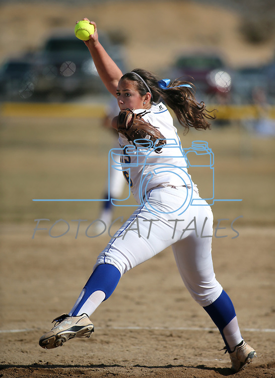Western Nevada College's Ali Lostra pitches in a college softball game against Colorado Northwestern Community College in Carson City, Nev., on Friday, Feb. 22, 2013. .Photo by Cathleen Allison