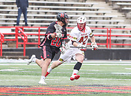 College Park, MD - April 15, 2018: Rutgers Scarlet Knights Casey Rose (20) is being defended by Maryland Terrapins Curtis Corley (42) during game between Rutgers and Maryland at  Capital One Field at Maryland Stadium in College Park, MD.  (Photo by Elliott Brown/Media Images International)
