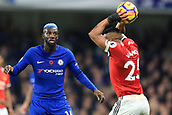 5th November 2017, Stamford Bridge, London, England; EPL Premier League football, Chelsea versus Manchester United; Tiemoue Bakayoko of Chelsea obstructs Luis Antonio Valencia of Manchester Utd from taking a throw in