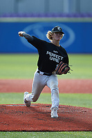 Holden Cooper (11) of Wakefield High School in Raleigh, NC during the Atlantic Coast Prospect Showcase hosted by Perfect Game at Truist Point on August 23, 2020 in High Point, NC. (Brian Westerholt/Four Seam Images)