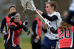 GER - Mainz, Germany, March 20: During the 1. Bundesliga Damen lacrosse match between Mainz Musketeers (white) and SC Frankfurt 1880 (red) on March 20, 2016 at Sportgelaende Dalheimer Weg in Mainz, Germany. Final score 7-12 (HT 3-5). (Photo by Dirk Markgraf / www.265-images.com) *** Local caption *** Elisabeth Lippert #2 of SC Frankfurt 1880, Marlene Steyer #31 of Mainz Musketeers