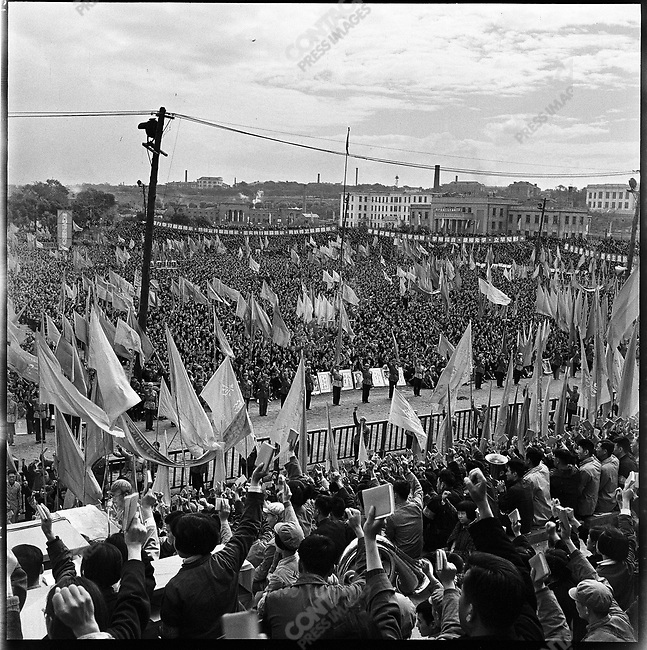 """Several hundred thousand people attend a """"Learning and Applying Mao Zedong Thought"""" rally in Red Guard Square. Harbin, Heilongjiang Province, September 13, 1966."""