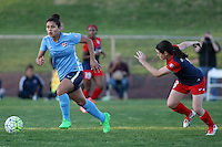 Piscataway, NJ, April 24, 2016.  Raquel Rodriguez (11) of Sky Blue FC charges upfield with Daina Matheson (8) of the Washington Spirit in pursuit.  The Washington Spirit defeated Sky Blue FC 2-1 during a National Women's Soccer League (NWSL) match at Yurcak Field.