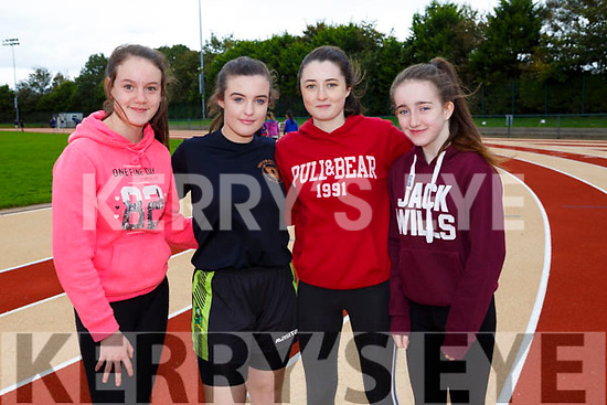 Enjoying the Kerry ETB students Athletics Day at An Riocht Castleisland on Tuesday were Marie O'Shea, Aoialbha Magan, Holly Barrett and Sive Foley from <br /> Killorglin Community College