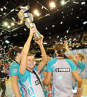 11.07.2010 Thunderbirds Beth Shimmin celebrate winning the ANZ Champs Final netball match between the Magic and Tunderbirds played at the Adelaide Entertainment Centre in Adelaide. ©MBPHOTO/Michael Bradley