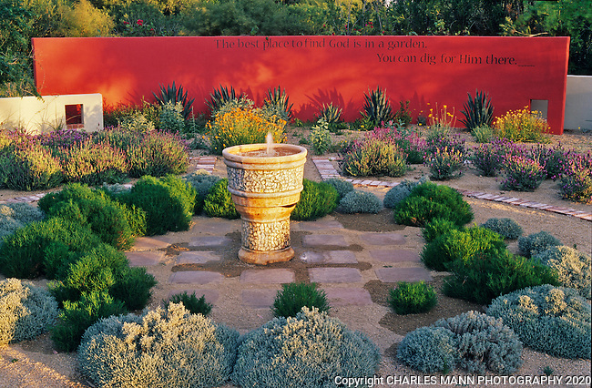Phoenix gardener Sally Shoemaker created a romantic and dreamy scene by adding a birghtred wall to compliment her fountain and outdoor patio.
