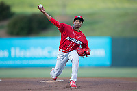 Lakewood BlueClaws starting pitcher Sixto Sanchez (23) delivers a pitch to the plate against the Kannapolis Intimidators at Kannapolis Intimidators Stadium on April 7, 2017 in Kannapolis, North Carolina.  The BlueClaws defeated the Intimidators 6-4.  (Brian Westerholt/Four Seam Images)
