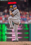 22 August 2015: Milwaukee Brewers pitcher Taylor Jungmann on the mound against the Washington Nationals at Nationals Park in Washington, DC. The Nationals defeated the Brewers 6-1 in the second game of their 3-game weekend series. Mandatory Credit: Ed Wolfstein Photo *** RAW (NEF) Image File Available ***