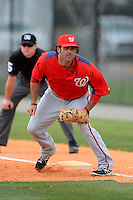 Washington Nationals first baseman Mike Costanzo #19 during a minor league Spring Training game against the Detroit Tigers at Tiger Town on March 22, 2013 in Lakeland, Florida.  (Mike Janes/Four Seam Images)