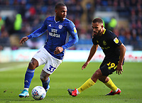 29th February 2020; Cardiff City Stadium, Cardiff, Glamorgan, Wales; English Championship Football, Cardiff City versus Brentford; Junior Hoilett of Cardiff City controls the ball as he is pressured by Bryan Mbeumo of Brentford