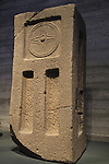 Israel, Jerusalem, a decorated standing stone from the Holy of Holies, Orthostat Temple at Tel Hazor, 1500-1300 BC, on display at the Israel Museum