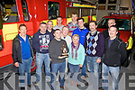 Cahersiveen Fire Station making a presentation to the O'Shea family from Lunenburg, Massachusetts who's Grandfather/Great Grandfather Mike O'Shea came from Toon, Cahersiveen pictured here front l-r; Jamieson O'Shea, Tim O'Shea, Peggy O'Shea, Sean McKenna, Andrew Garvey(Station Officer), Anthony McCarthy, Barry O'Shea, back l-r; Patrick O'Shea, Mike O'Connor, Joe O'Shea, John Paul O'Connor & Mike F.O'Connor.