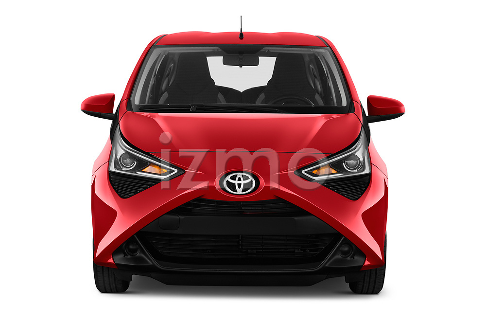 Car photography straight front view of a 2019 Toyota Aygo x-Play 5 Door Hatchback Front View