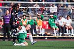 110410 Ume&aring;s Rita Chikwelu och Hammarbys Anna Lindblom under fotbollsmatchen i Damallsvenskan mellan Hammarby och Ume&aring; den 10 April 2011 i Stockholm. <br /> Foto: Kenta J&ouml;nsson<br /> Nyckelord: fotboll, damallsvenskan, hammarby, ume&aring;