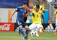SARANSK - RUSIA, 19-06-2018: Wilmar BARRIOS (Der) jugador de Colombia disputa el balón con Gaku SHIBASAKI (Izq) jugador de Japón durante partido de la primera fase, Grupo H, por la Copa Mundial de la FIFA Rusia 2018 jugado en el estadio Mordovia Arena en Saransk, Rusia. /  Wilmar BARRIOS (R) player of Colombia fights the ball with Gaku SHIBASAKI (L) player of Japan during match of the first phase, Group H, for the FIFA World Cup Russia 2018 played at Mordovia Arena stadium in Saransk, Russia. Photo: VizzorImage / Julian Medina / Cont