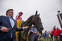 BALTIMORE, MD - MAY 20:  Cloud Computing #2 ridden by Javier Castellano enters the winners circle after the Preakness Stakes at Pimlico Race Course on May 20, 2017 in Baltimore, Maryland. (Photo by Alex Evers/Eclipse Sportswire/Getty Images)
