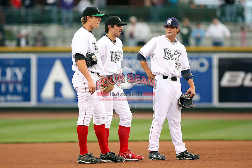 June 17th 2008:  L-R - Brandon Waring of the Dayton Dragons, Pete Kozma of the Quad Cities River Bandits, and Andy Parrino of the Fort Wayne Wizards during the Midwest League All-Star Game at Dow Diamond in Midland, MI.  Photo by:  Mike Janes/Four Seam Images
