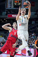 Real Madrid Luka Doncic and Baskonia Vitoria Luca Vildoza during Turkish Airlines Euroleague match between Real Madrid and Baskonia Vitoria at Wizink Center in Madrid, Spain. January 17, 2018. (ALTERPHOTOS/Borja B.Hojas) (NortePhoto.com NORTEPHOTOMEXICO)