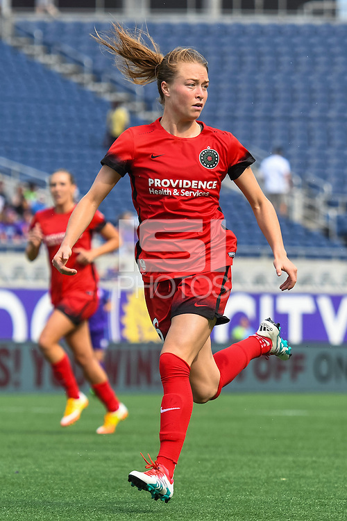 Orlando, FL - Sunday June 26, 2016: Emily Sonnett  during a regular season National Women's Soccer League (NWSL) match between the Orlando Pride and the Portland Thorns FC at Camping World Stadium.